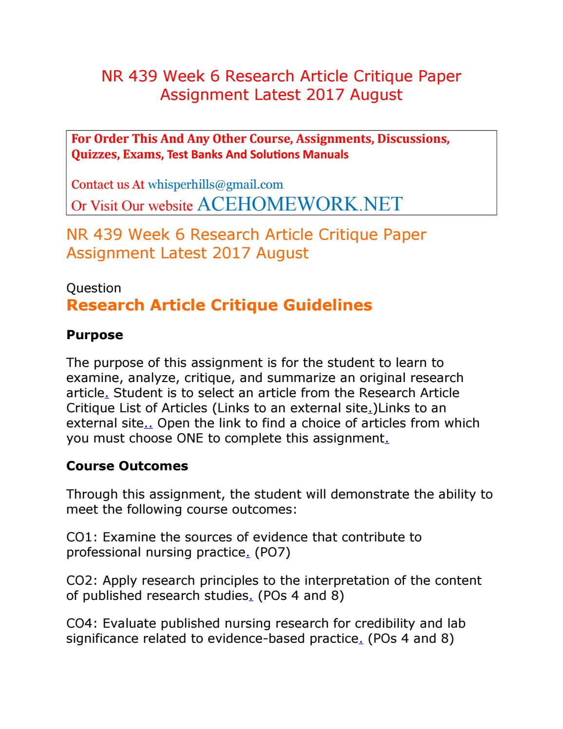critique assignment A literature review assignment is a broad-ranging, critical view of the literature on a particular topic it is similar to the literature review of a thesis, with one.