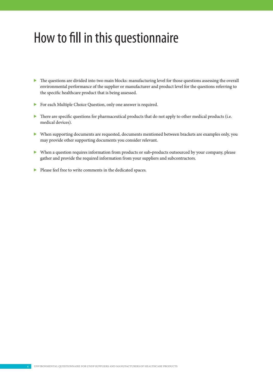 Environmental Questionnaire for UNDP Suppliers and