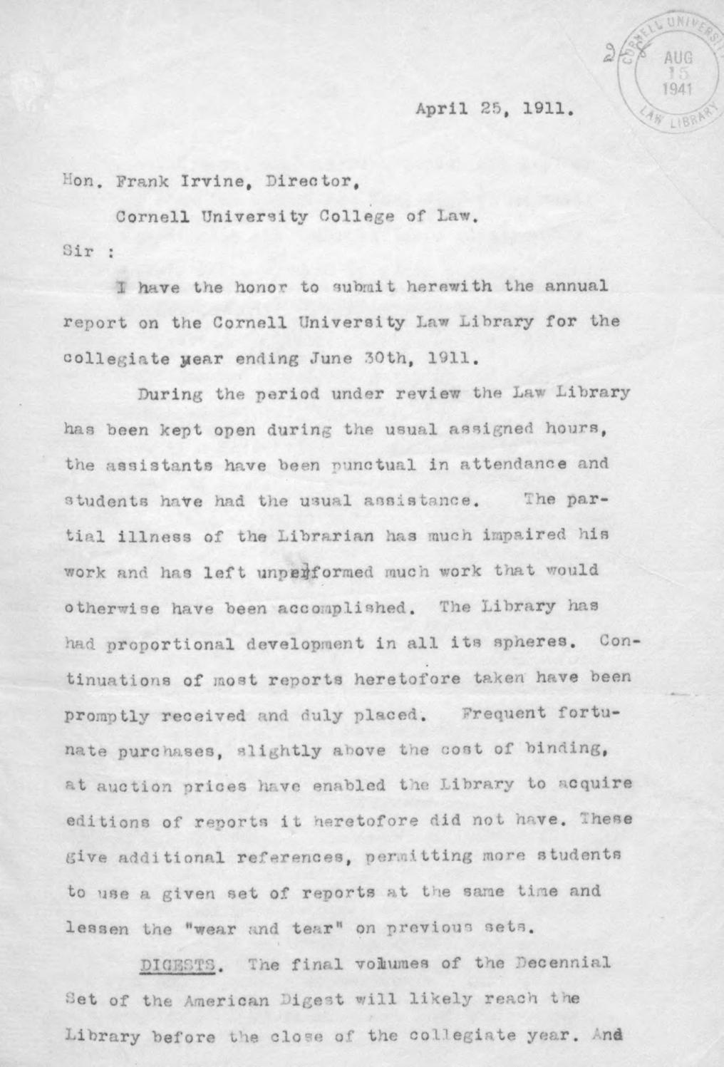 Cornell Law Library Annual Report 1911 by Cornell Law Library issuu