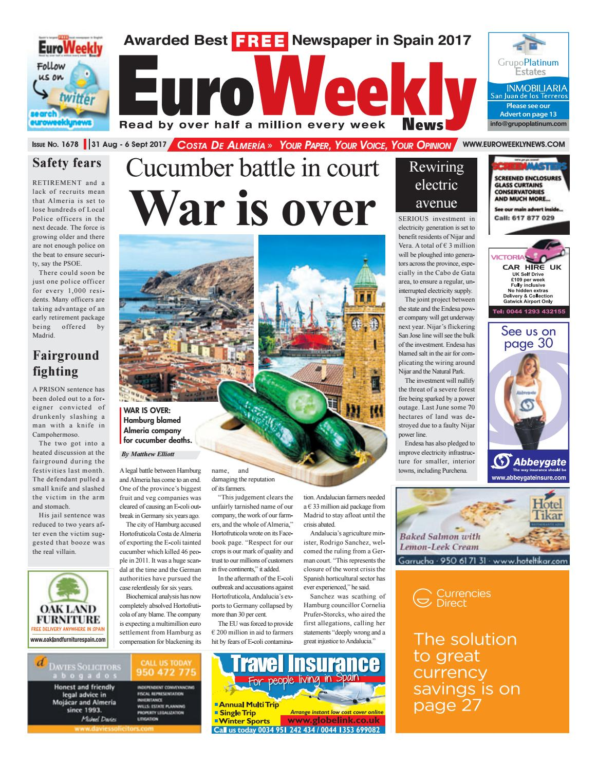 Euro Weekly News Costa De Almeria 31 August 6 September 2017 Boga Group Voucher 500000 Issue 1678 By Media Sa Issuu