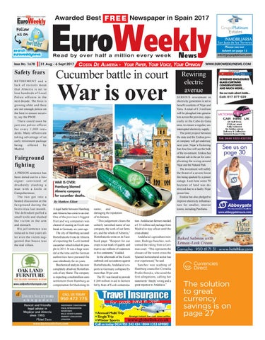 ca68d3a1f3 Euro Weekly News - Costa de Almeria 31 August – 6 September 2017 Issue 1678