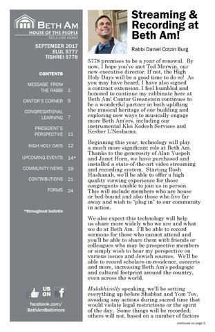 September Bulletin 2017 by Beth Am Synagogue - issuu