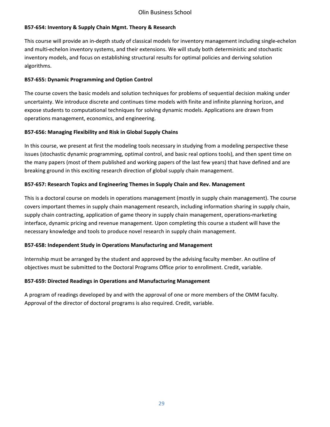 Olin Business School PhD Program Bulletin by Olin Business