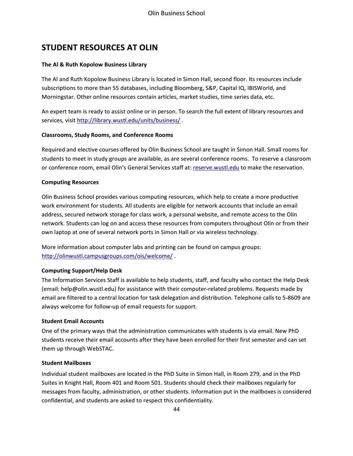 Olin Business School PhD Program Bulletin by Olin Business School