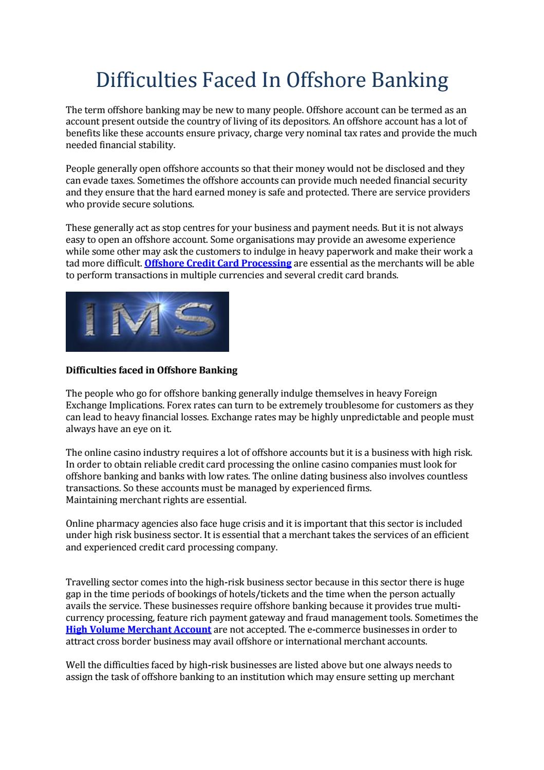 Difficulties faced in offshore banking by highriskmerchants - issuu
