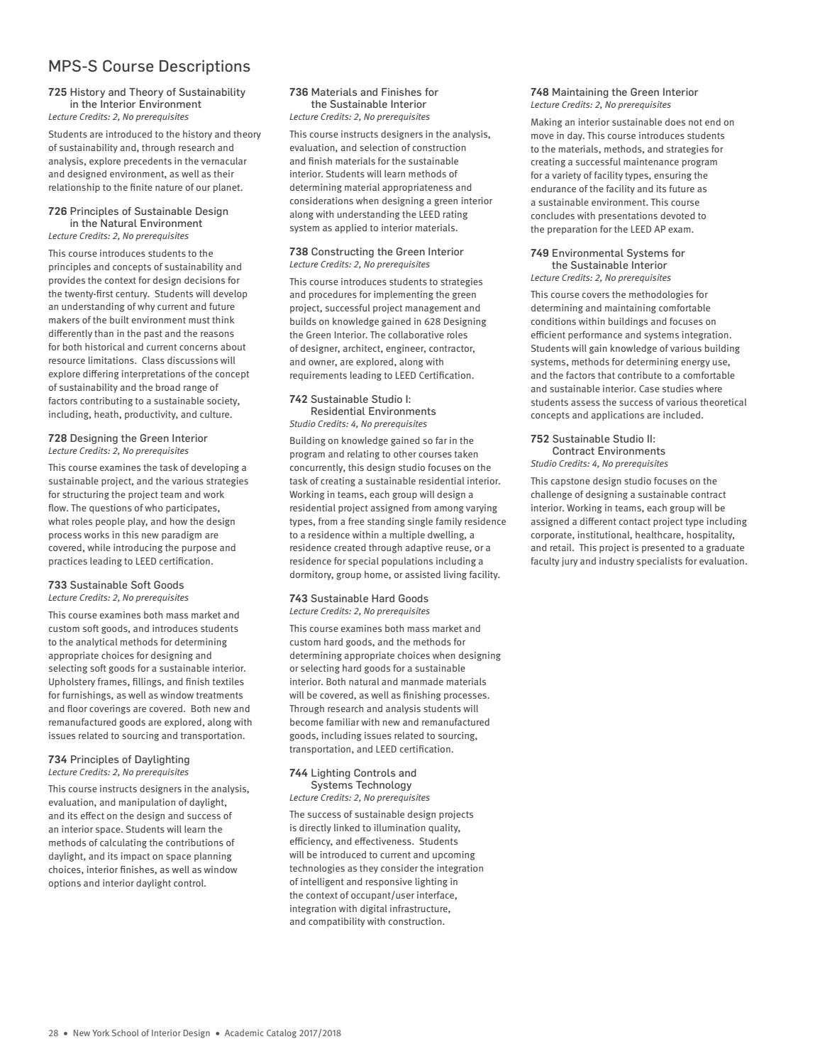Academic Catalog 20172018 By New York School Of Interior Design Issuu