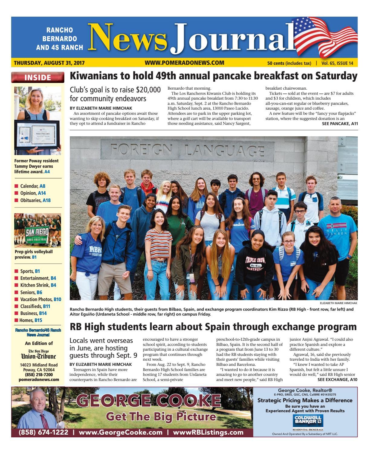 Rancho Bernardo News Journal 08 31 17 by MainStreet Media - issuu