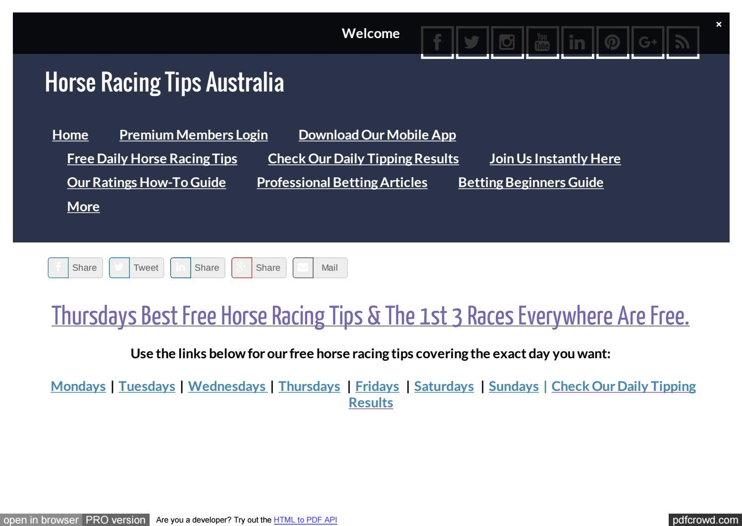 Thursdays August 31st Free Horse Racing Tips by Michael