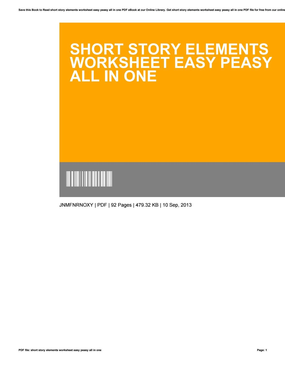 Short Story Elements Worksheet Easy Peasy All In One By
