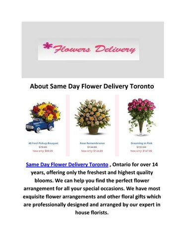 Call 647 492 3276 For Same Day Flower Delivery Toronto On