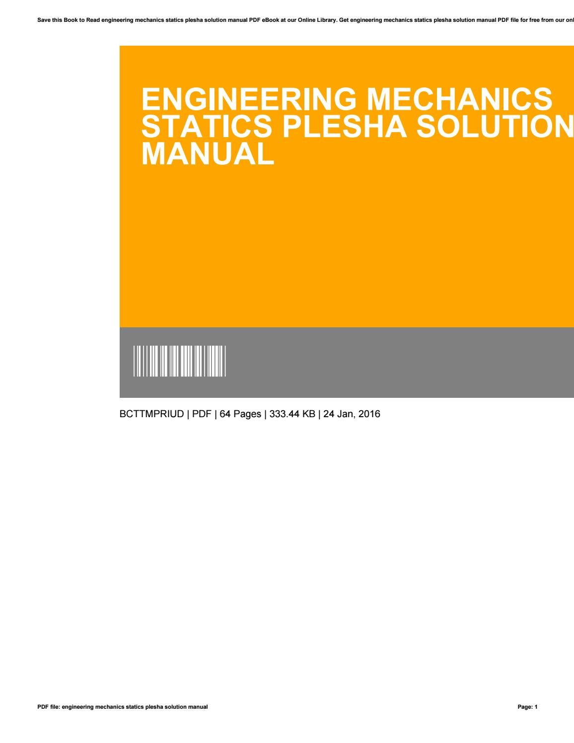 engineering mechanics statics plesha solution manual pdf
