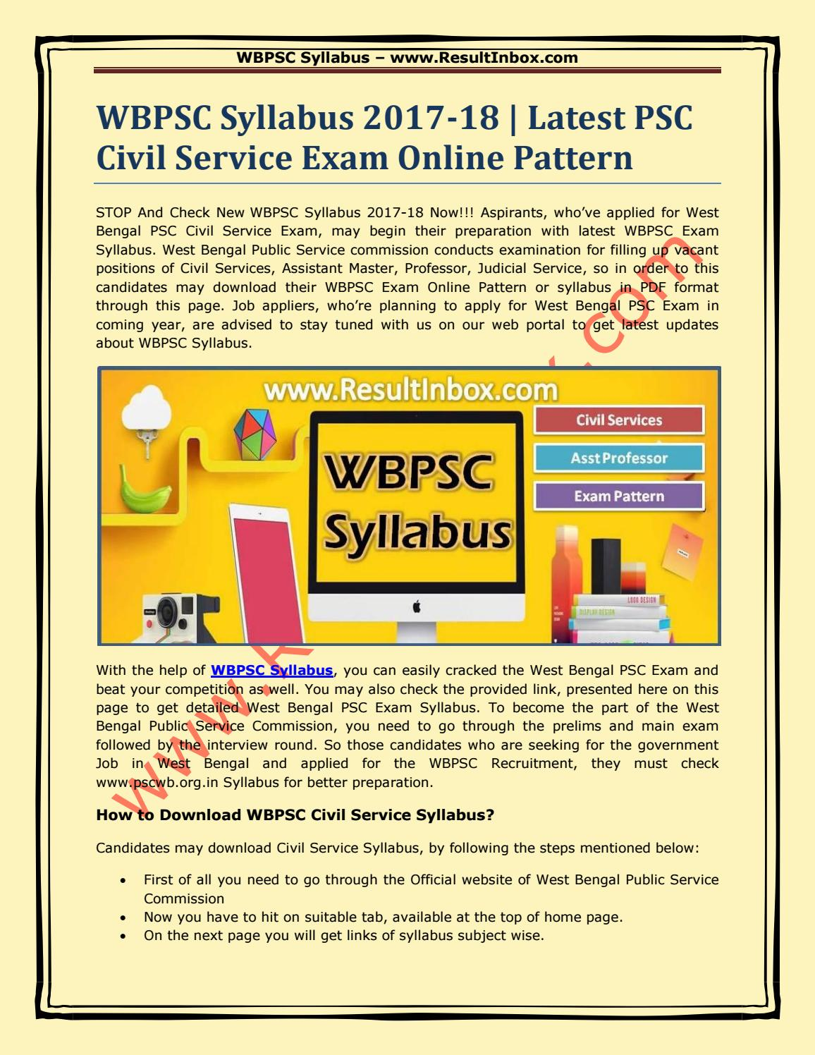 Wbpsc syllabus 2017 18 latest psc civil service exam online pattern by  Result Inbox - issuu