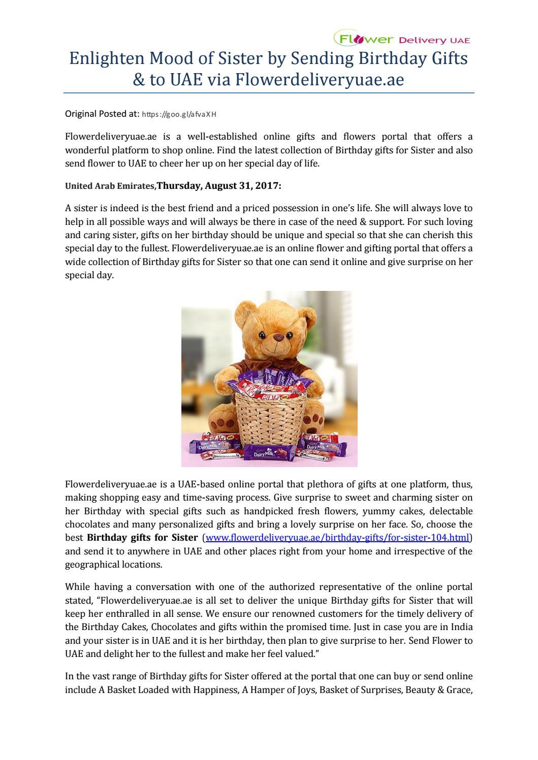 Enlighten Mood Of Sister By Sending Birthday Gifts To Uae Via Flowerdeliveryuae Ae