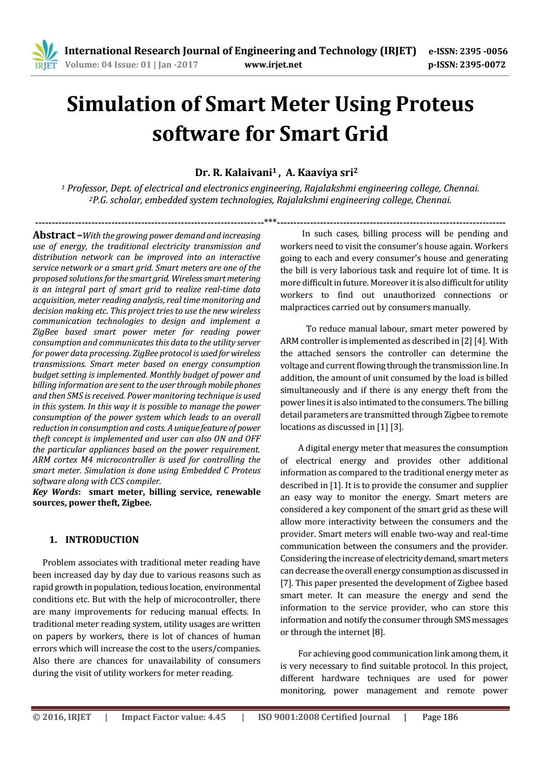 Simulation Of Smart Meter Using Proteus Software For Grid By Circuit Free Irjet Journal Issuu