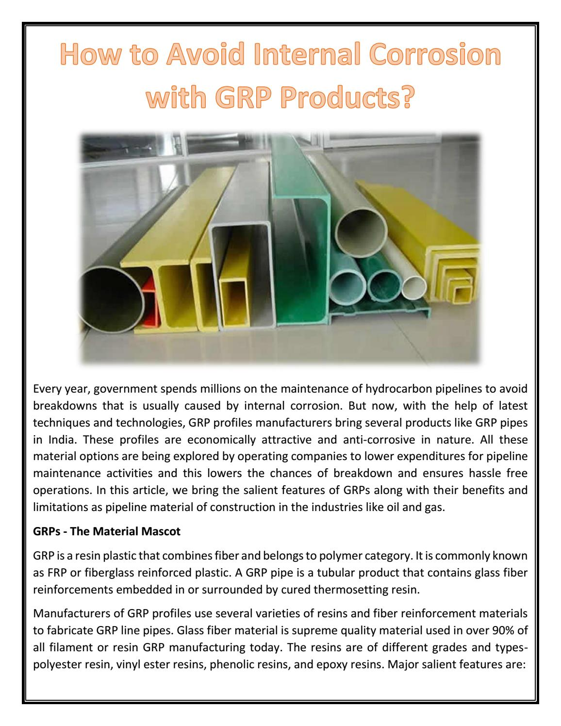 How to Avoid Internal Corrosion with GRP Products? by Fiber