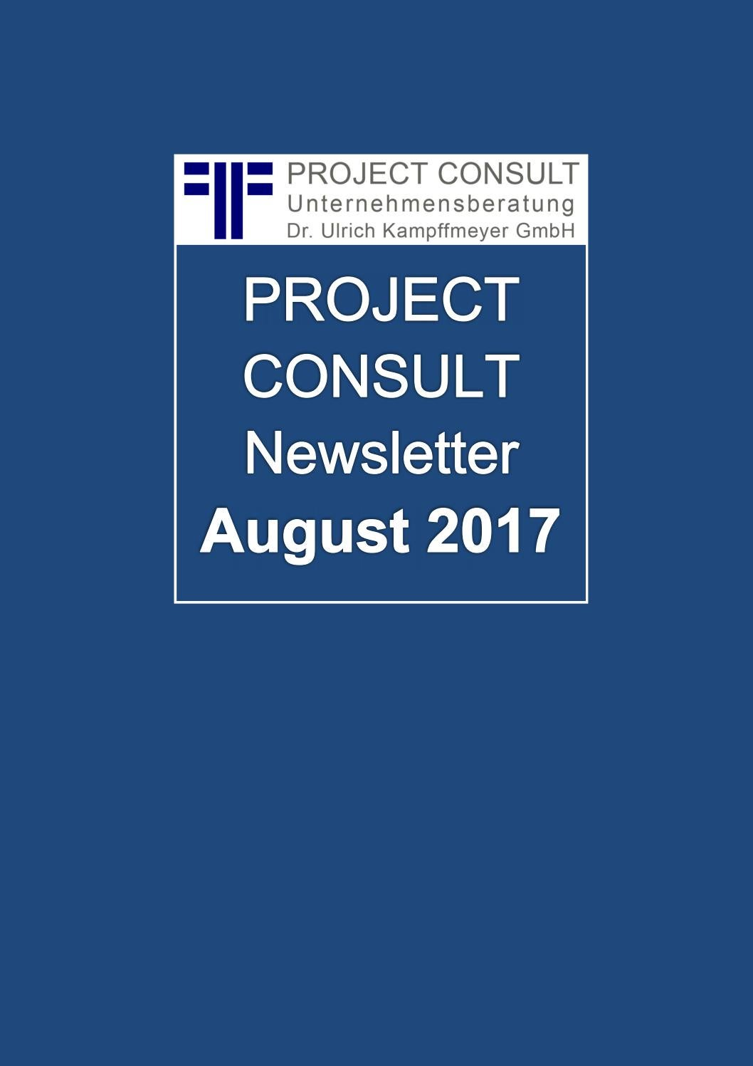 De Project Consult Newsletter August 2017 By Ulrich