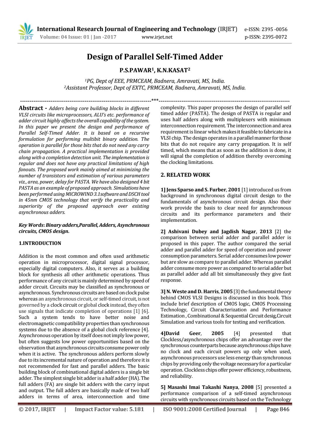Design Of Parallel Self Timed Adder By Irjet Journal Issuu And Gate Full Logic Diagram Moreover Nand Circuit