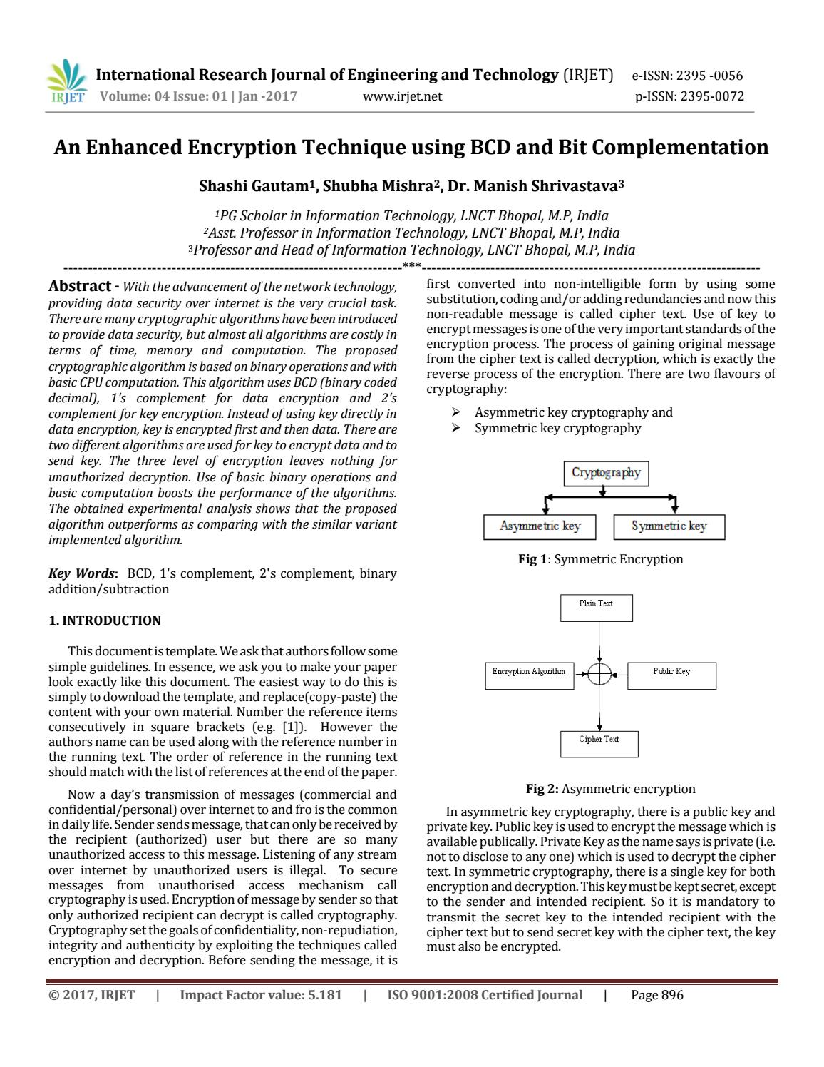 An Enhanced Encryption Technique Using Bcd And Bit Complementation Binary To Converter Pictures By Irjet Journal Issuu