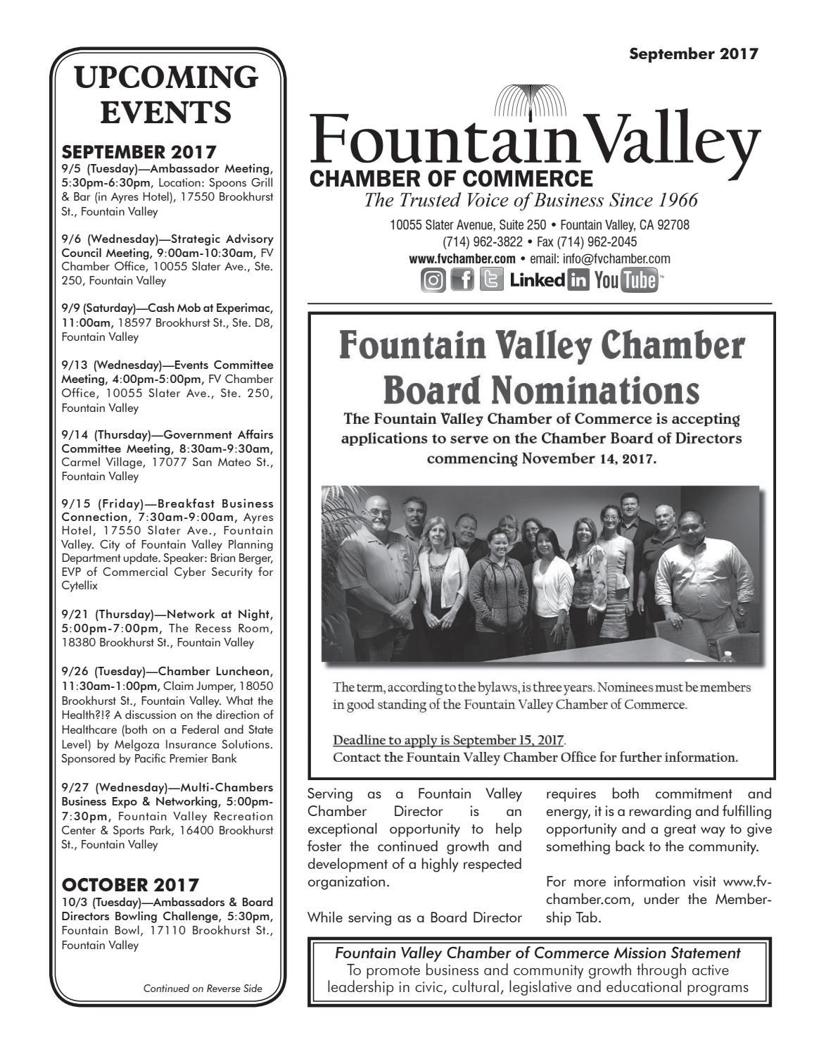 Fountain Valley Chamber Of Commerce September 2017 Newsletter By