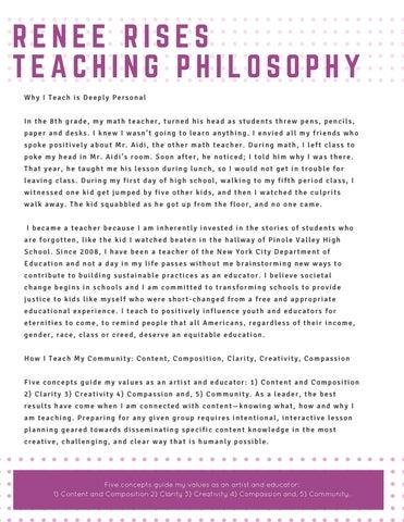 Renee Rises Teaching Philosophy by Renee Rises - issuu