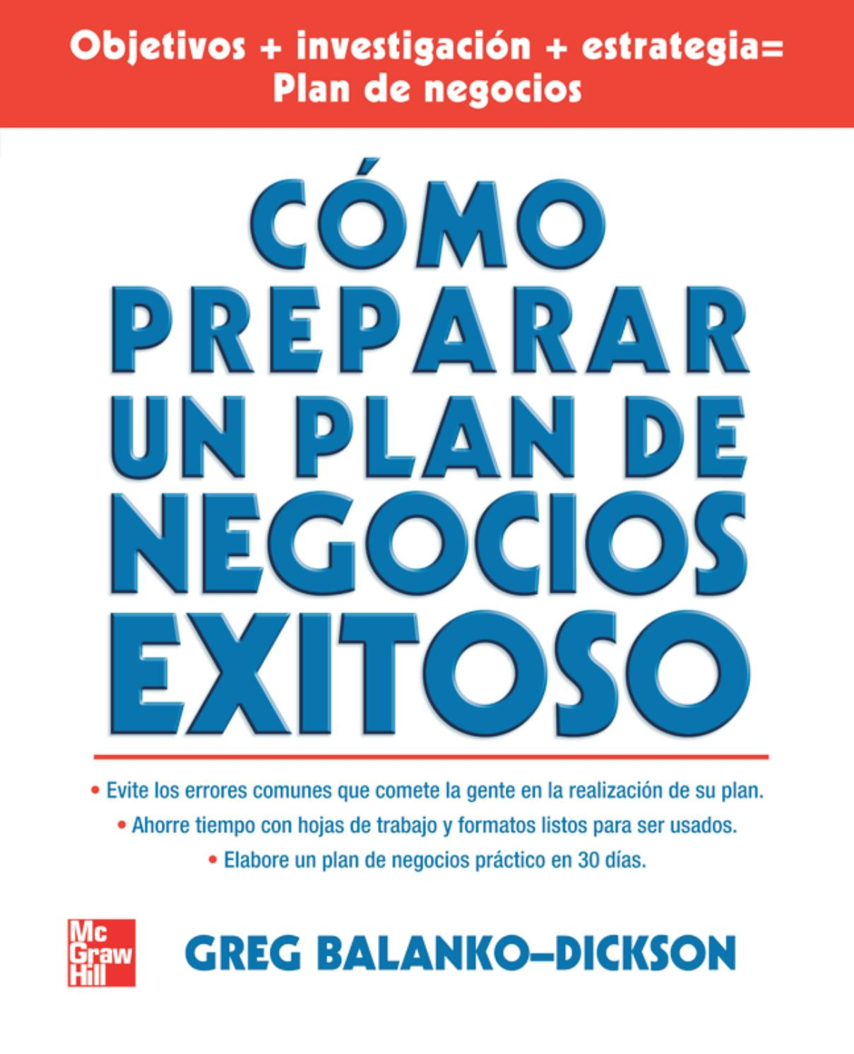 Como preparar un plan de negocios exitoso balanko 1° edición by ...
