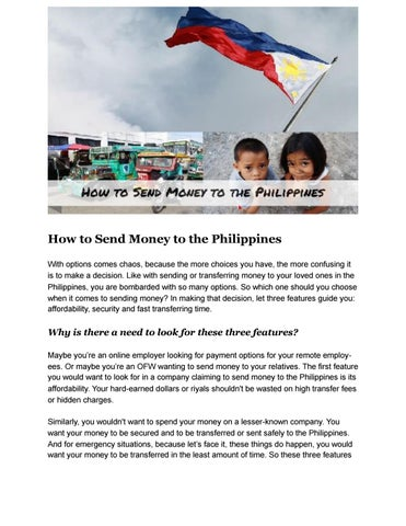 How To Send Money The Philippines With Options Comes Chaos Because More Choices You Have Confusing It Is Make A Decision
