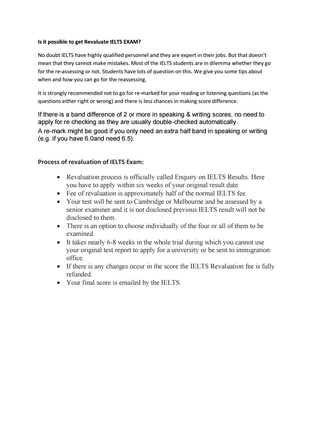 Is it possible to get Revaluate IELTS EXAM? by Next World
