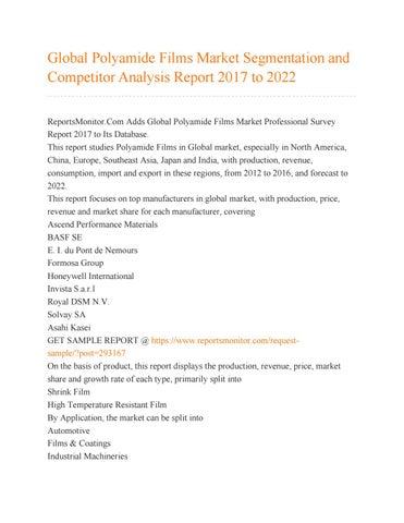 Global Polyamide Films Market Segmentation And Competitor Analysis