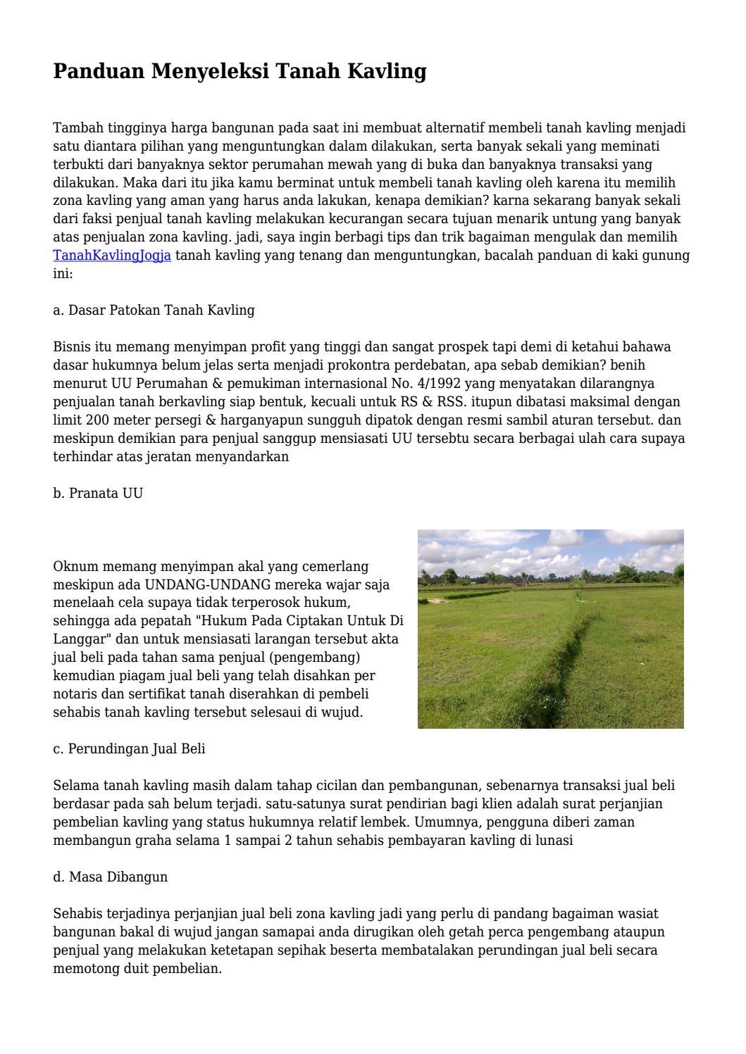 Panduan Menyeleksi Tanah Kavling By Taggayahiduppusat Issuu