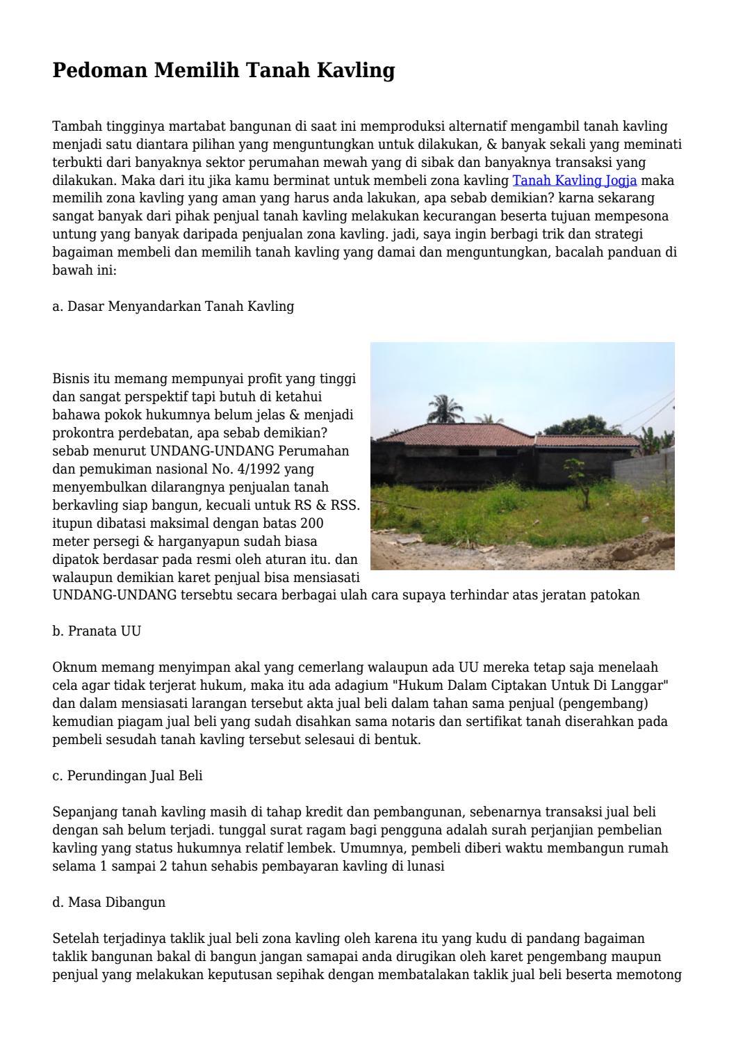 Pedoman Memilih Tanah Kavling By Klikgayahidupnet Issuu