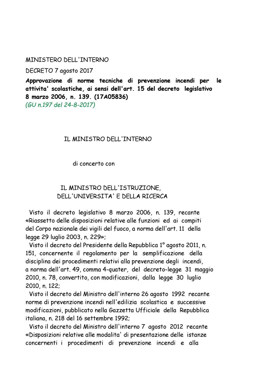 Decreto 7 agosto 2017 by laboratorio polizia democratica for Decreto presidente della repubblica