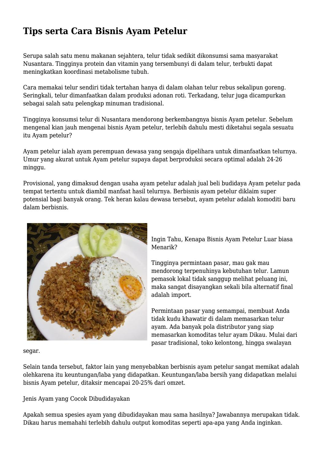 Tips Serta Cara Bisnis Ayam Petelur By Klikgayahidupnet Issuu