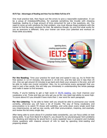IELTS Tips - Advantages of Reading and How You Can Make Full