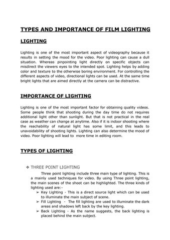 TYPES AND IMPORTANCE OF FILM LIGHTING LIGHTING Lighting is one of the most important aspect of videography because it results in setting the mood ...  sc 1 st  Issuu & Types and Importance of Film Lighting by Vivian Pinto - issuu