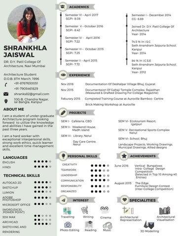 resume and architectural portfolio by shrankhla jaiswal issuu