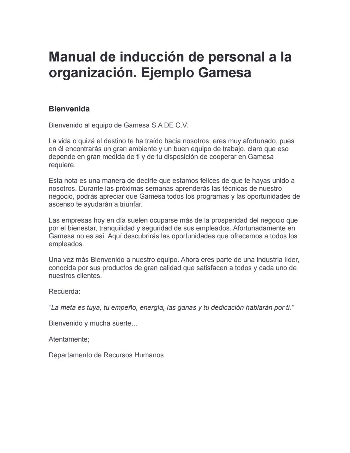 Manual de inducción de personal a la organización by Natalia R - issuu