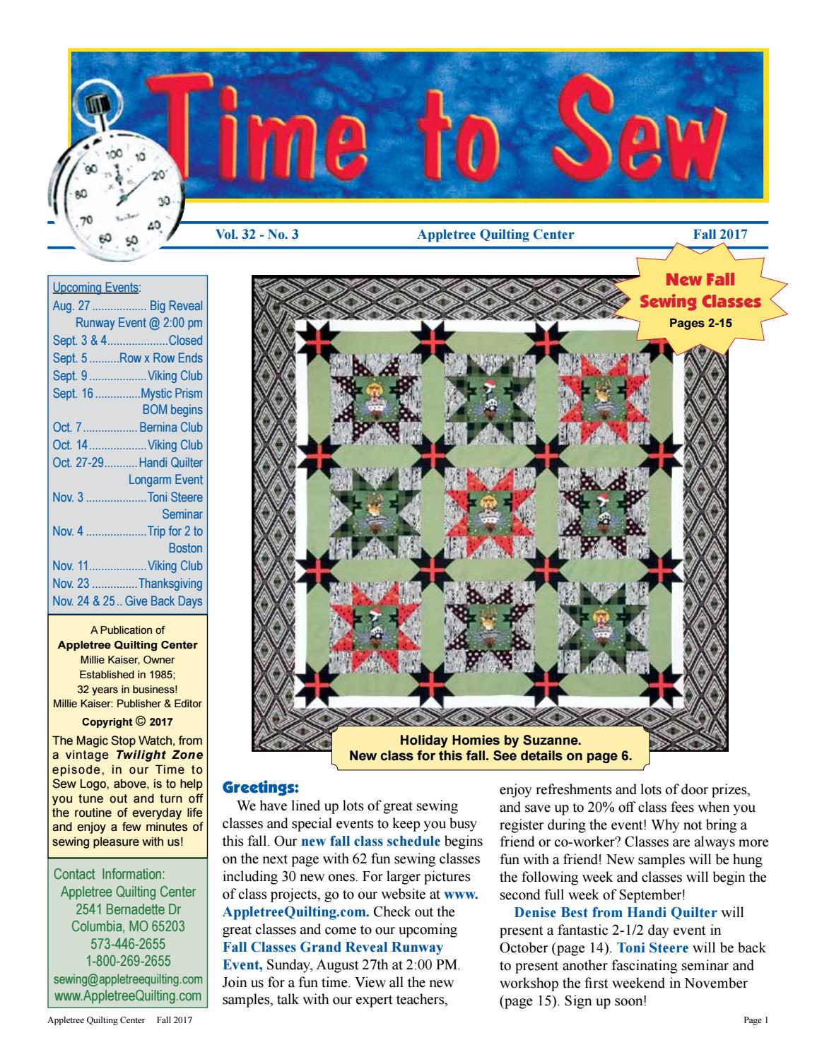 Appletree Quilting Center's Fall 2017 Newsletter & Sewing