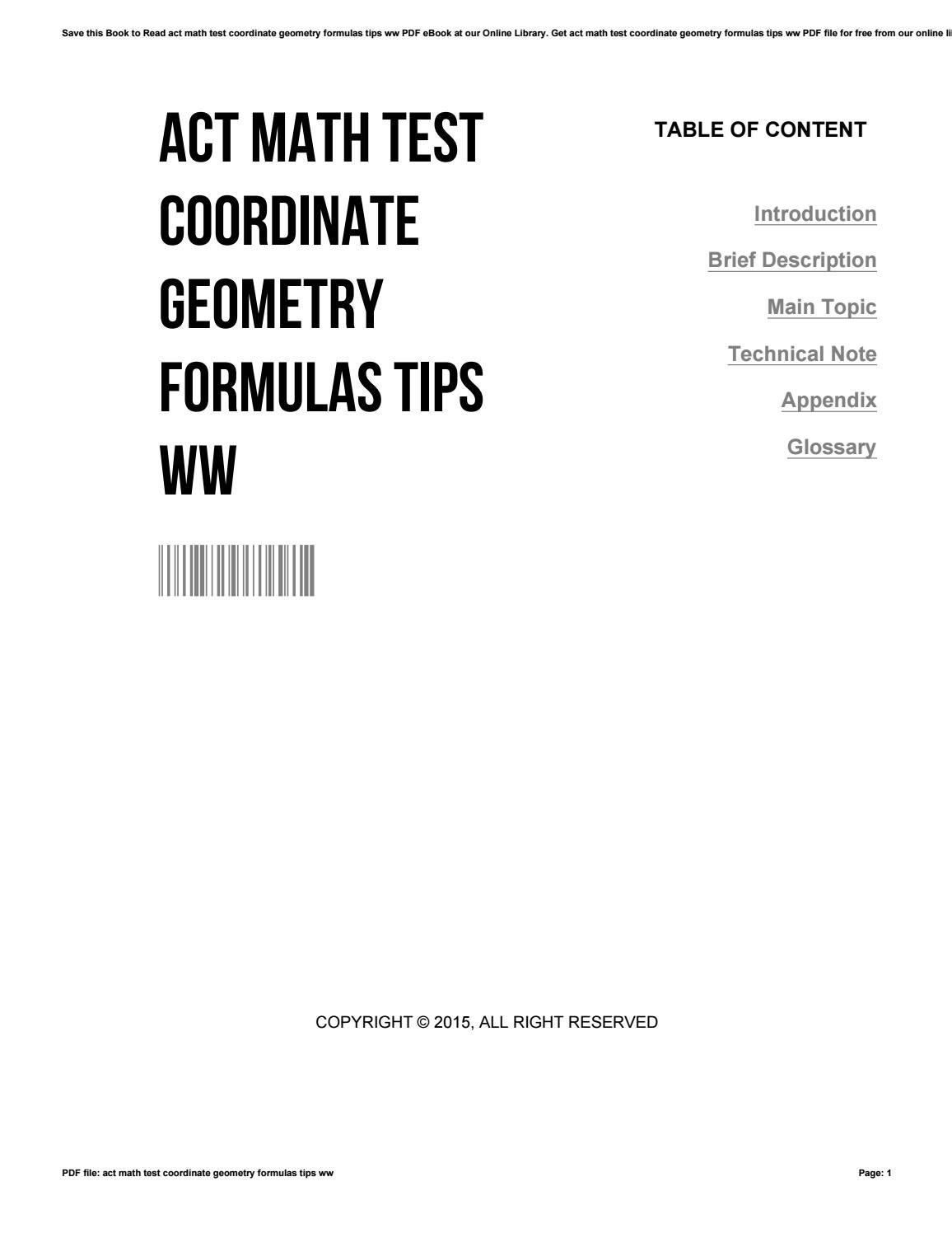 Act math test coordinate geometry formulas tips ww by ...