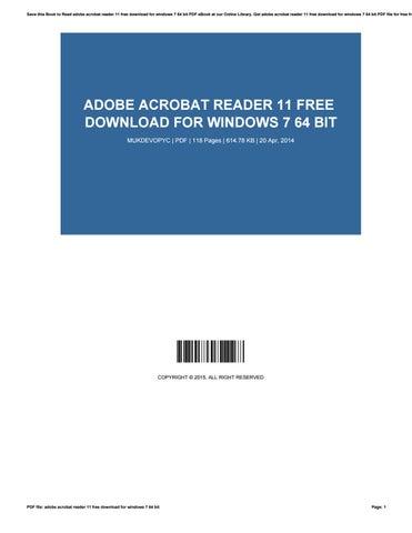 adobe reader 11 will not install on windows 7 64 bit