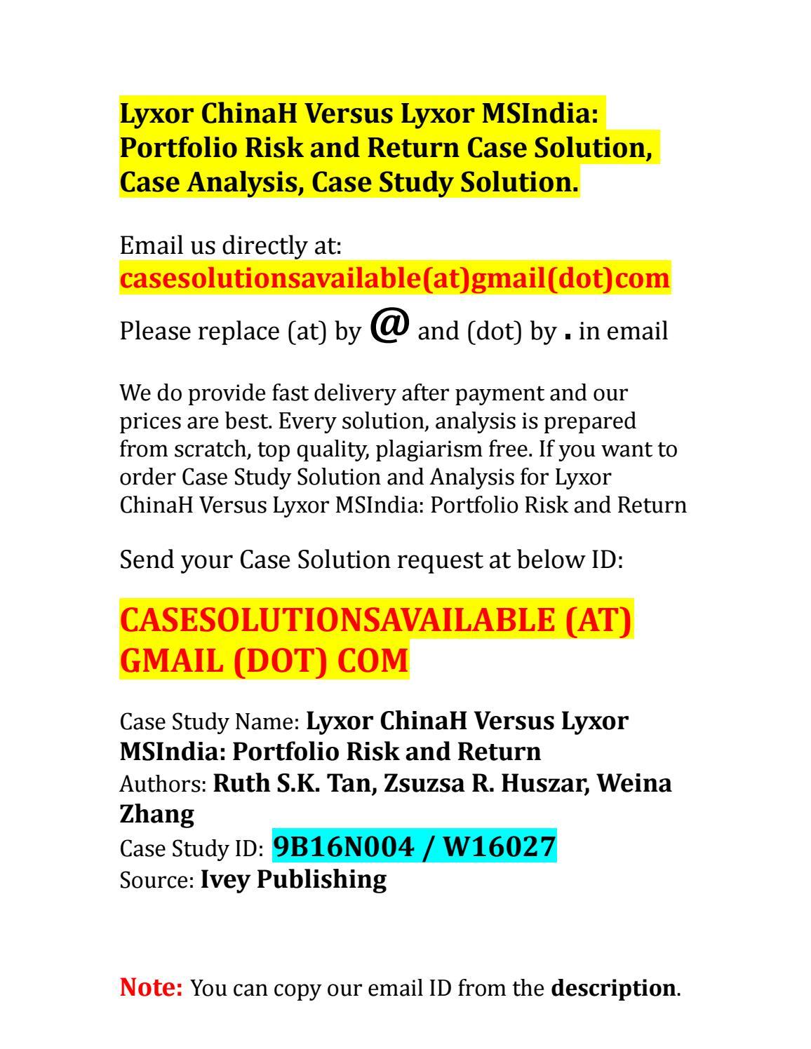 Case solution for lyxor chinah versus lyxor msindia portfolio risk