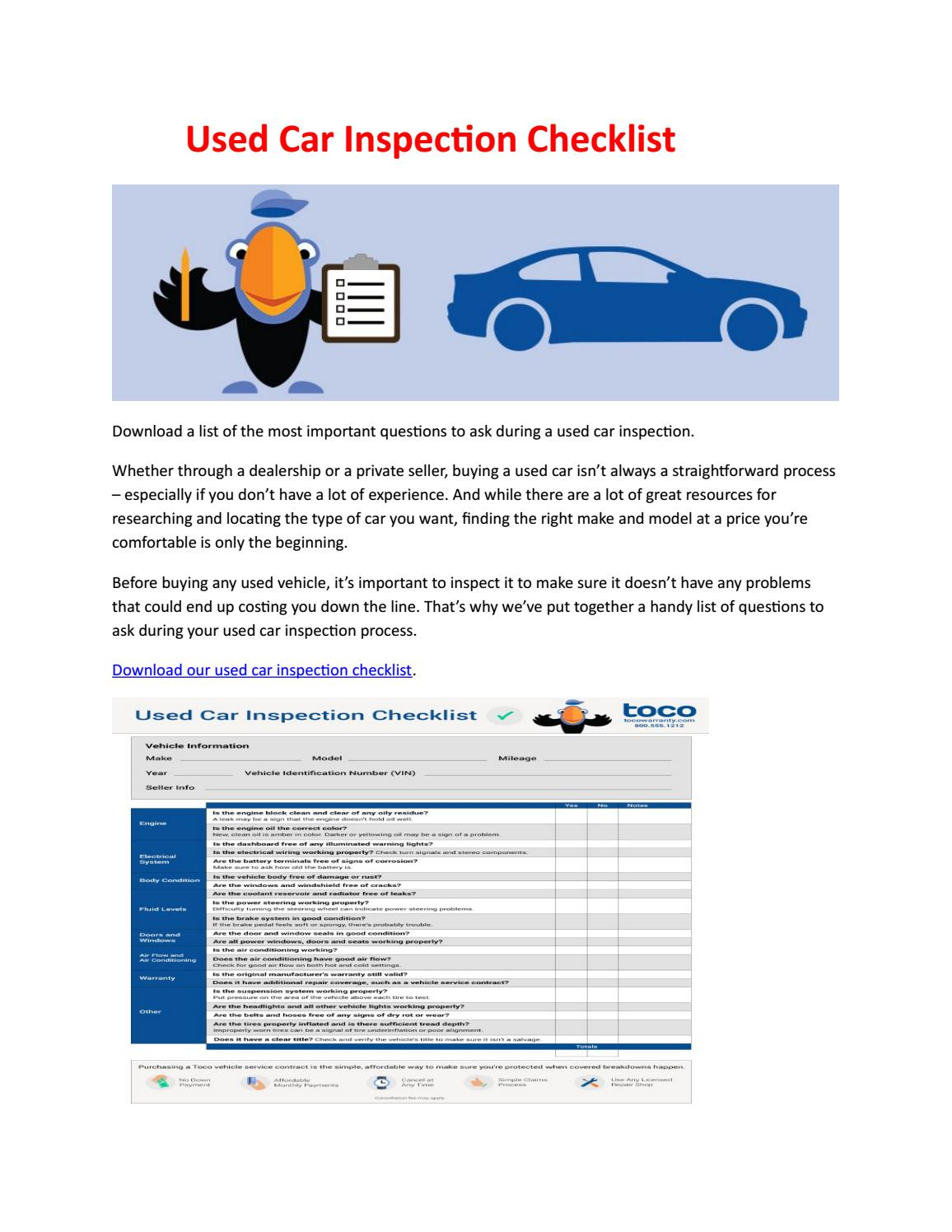 Questions To Ask When Buying A Used Car >> Used Car Inspection Checklist By Steve Parker Issuu