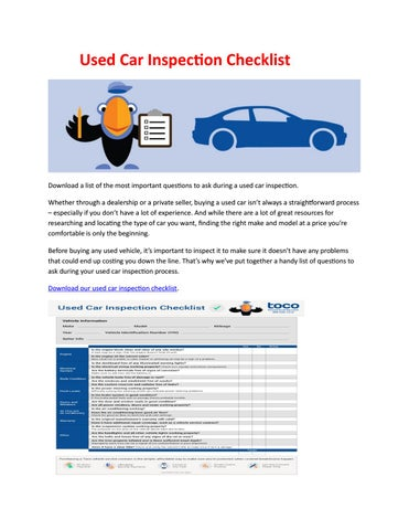 Car Inspection Checklist >> Used Car Inspection Checklist By Steve Parker Issuu