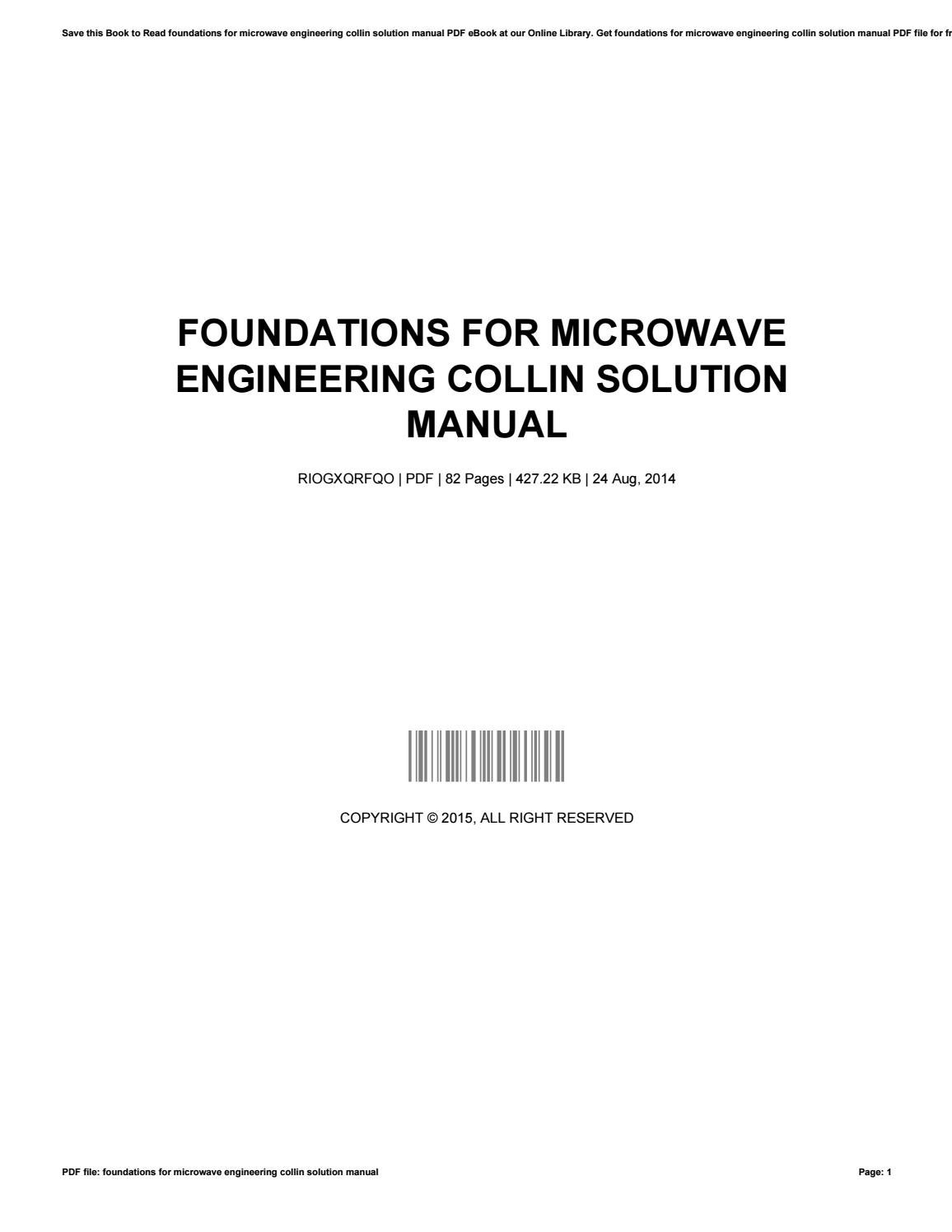 Foundations for microwave engineering collin solution manual by  VickiePollard4937 - issuu