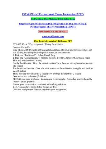 Psy 405 Week 2 Psychodynamic Theory Presentation 2 Ppt By