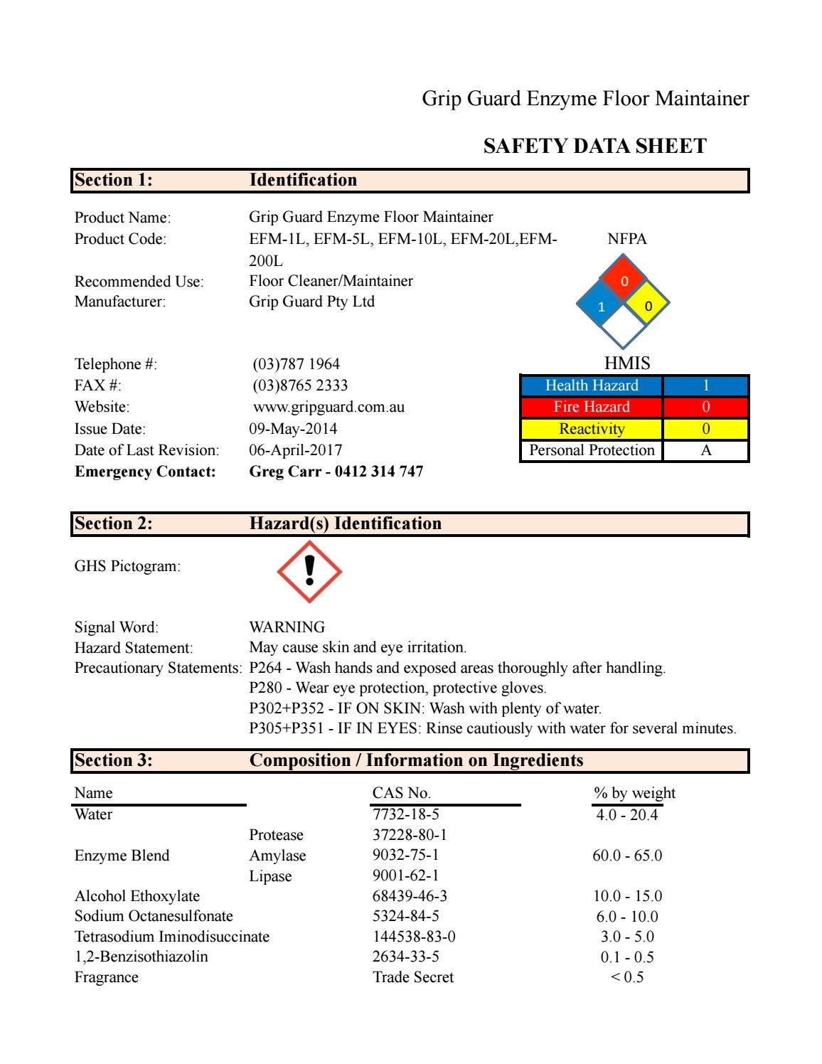 Enzyme Floor Maintainer Msds 4 Sheet 2017 1 By Gripguard