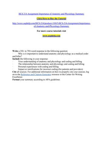 Hcs 214 assignment importance of anatomy and physiology summary by ...