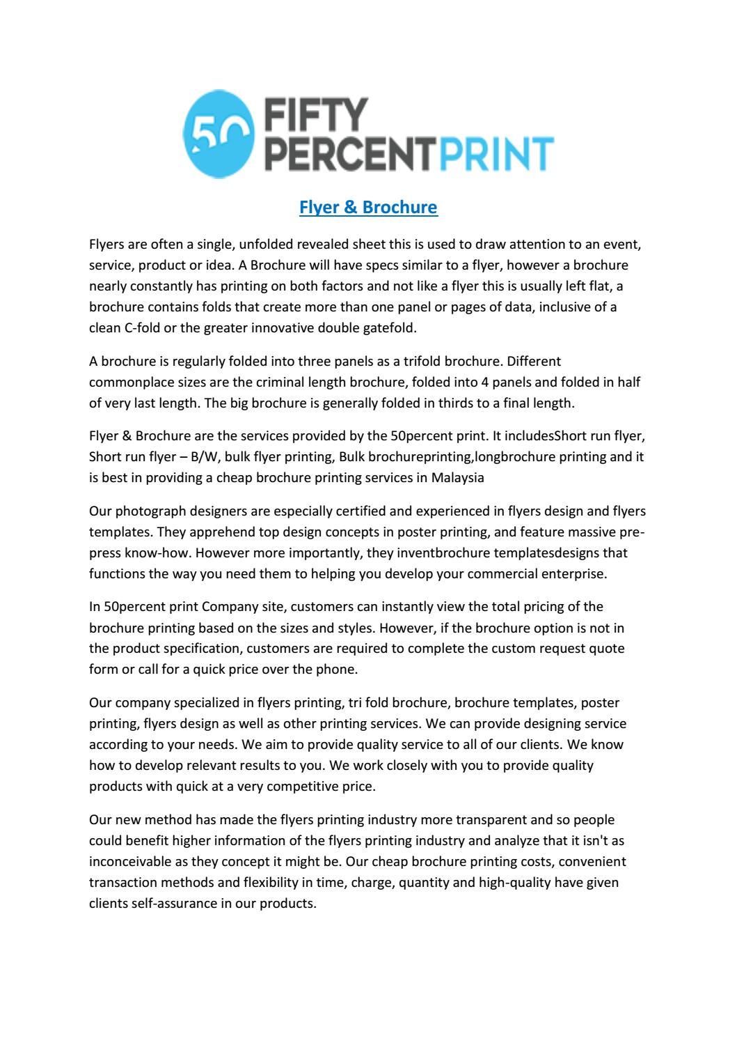 Flyer design | flyers printing Malaysia | 50percentprint by