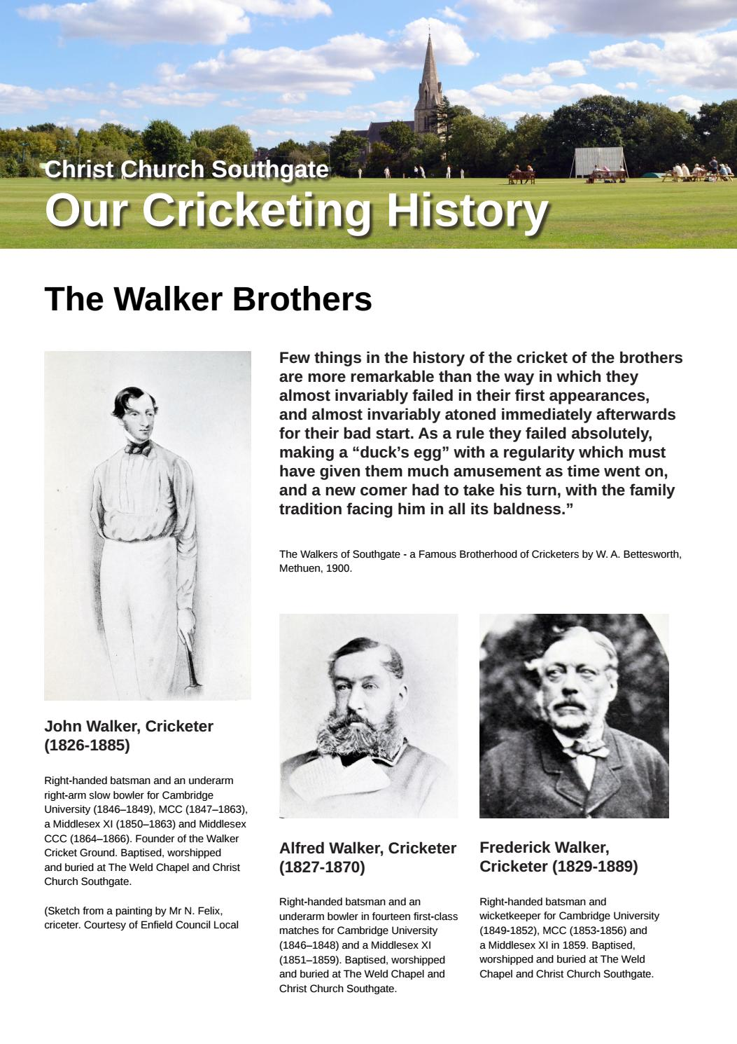 Christ Church Southgate - Our Cricketing History! by Christ Church