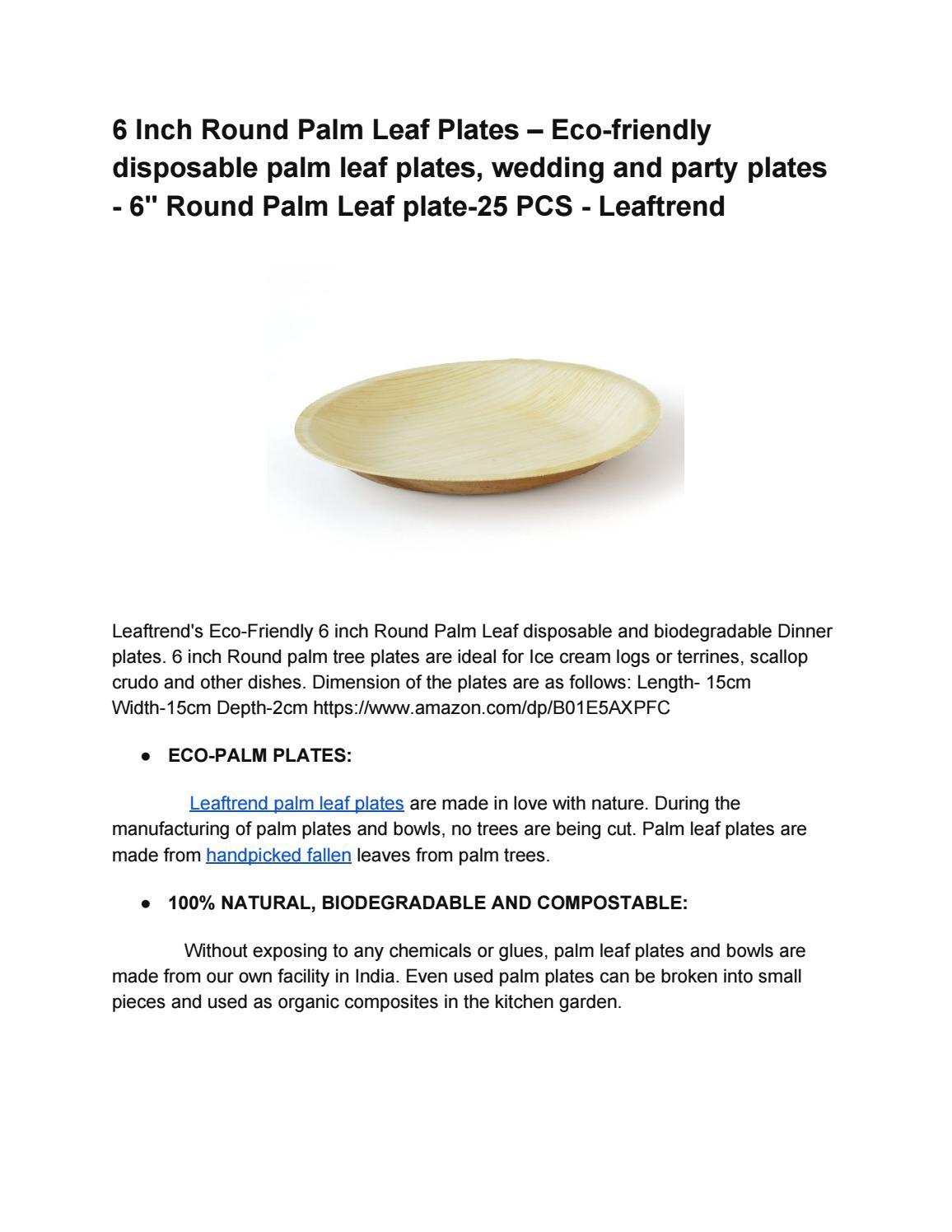 6 Inch Round Plam Leaf Plates – Ecofriendly disposable palm