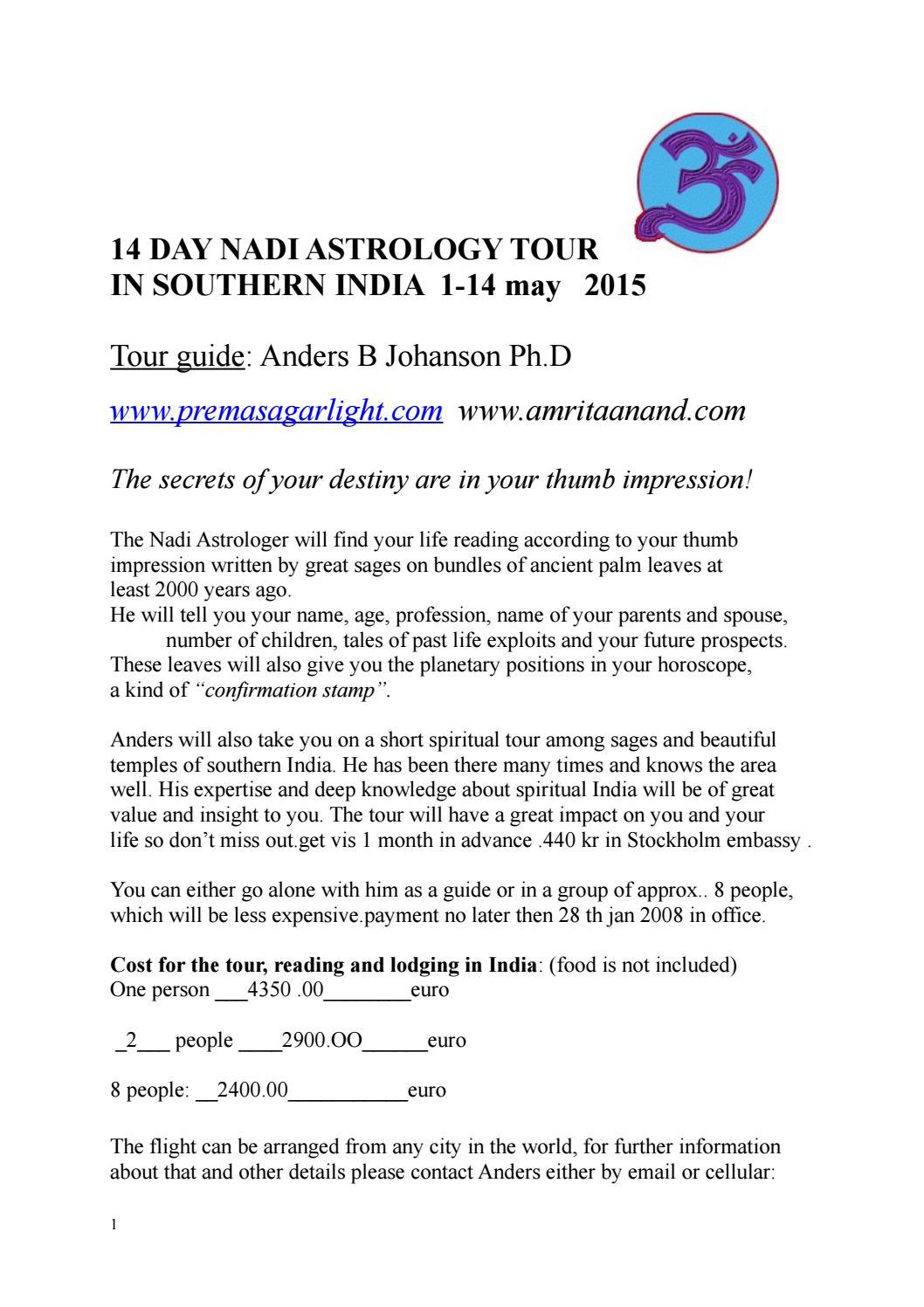 Nadi astrology tour to india1 2017-2018 by premasagarr light